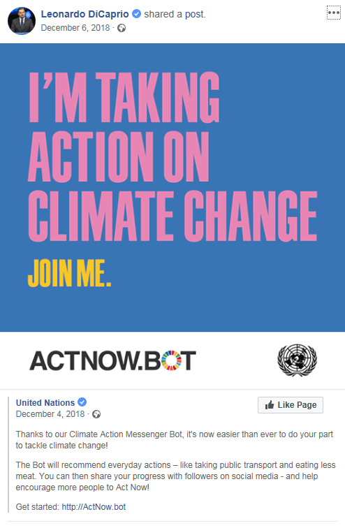 Leonardo DiCaprio showing his support for this campaign by sharing the UN's Act Now campaign on Facebook in December 2018