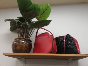 Handbags and pot plant on a shelf