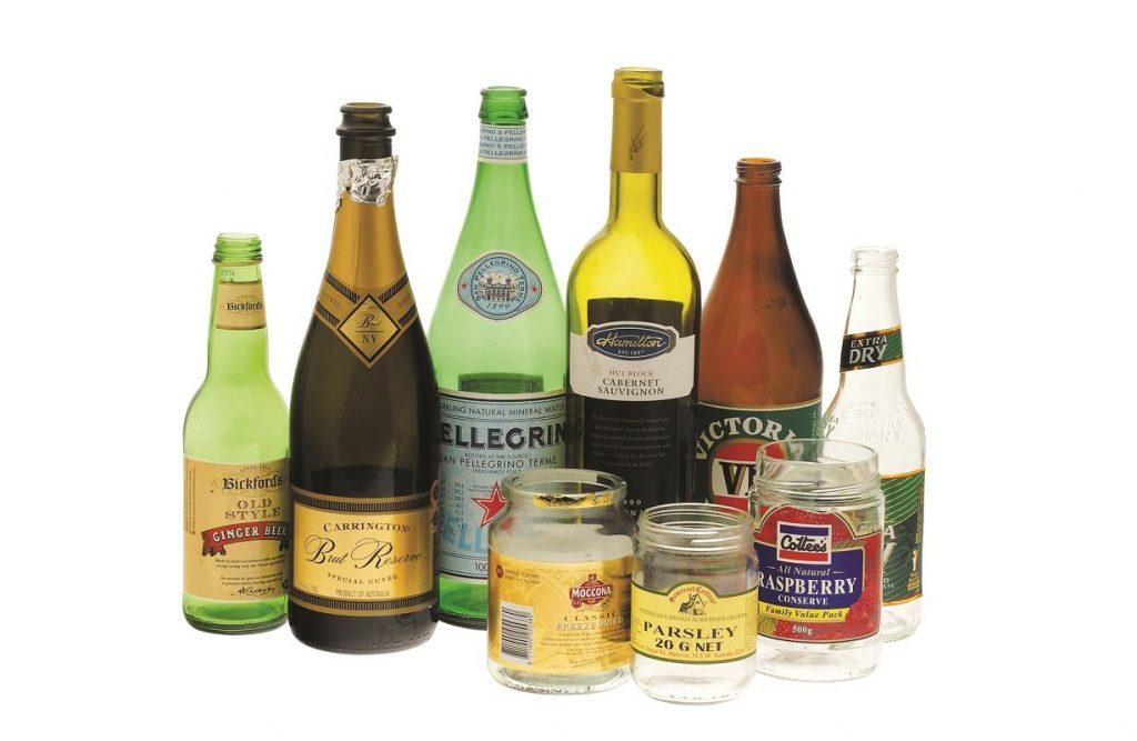 An assortment of glass bottles